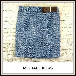 Michael Kors Blue Graphic Print Pencil Skirt